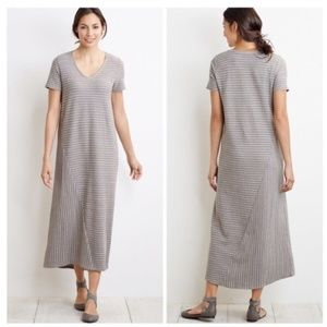 J. Jill Short Sleeve V-neck Striped Maxi Dress